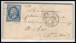 LAC Lettre-0303 Bouches Du Rhone Marseille Napoléon N°14 T1 Tb PC 1896 2/8/1858 4ème Arrondissement - 1849-1876: Classic Period