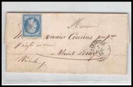 LSC Lettre-0091 Bouches Du Rhone Marseille Napoléon N°14 A T1 Pc 1896 TB Pour Saint Peray Ardeche 1858 4ème Arrondisseme - 1849-1876: Classic Period