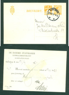 "Denmark. Stationery ""Danish Railway"" Card 1921. 1+7 Ore. Adr: Copenhagen - Postal Stationery"
