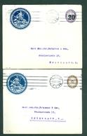 Denmark. 2 Stationery,Cover 1920 & 21. Commercial, Iron Foundry. 20 & 15/20 Overprint. Adr:Copenhagen - Postal Stationery