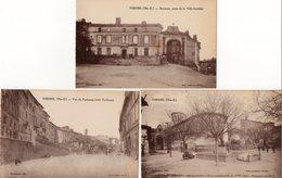 31. 3 CPA. VERFEIL. Vue Du Faubourg Coté Toulouse, Ancienne Porte Fortifiée, église Place De La Victoire. Monument. - Verfeil