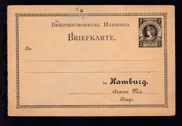 Hamburg Briefbeförderung Hammonia Ganzsache 2 Pfge Ungebraucht - Privatpost