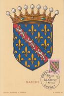 Carte  Maximum  1er  Jour   FRANCE   Blason  De  La   MARCHE     GUERET   1955 - Maximum Cards