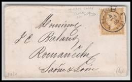 LsC Lettre-0344 Bouches Du Rhone Marseille Napoléon N°21 Cad T15 Timbre Petit Format 1865 - Marcophilie (Lettres)