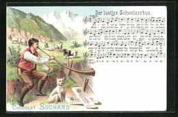 Lithographie Werbung Für Chocolat Suchard, Alphornbläser Mit Hund, Der Lustige Schweizerbue - Culturas