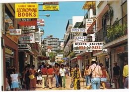 Torremolinos - Calle San Miguel, NEON: 'Dutch Dick', 'Second Hand Books', 'Discos Records Mi Sol' (Costa Del Sol,Espana) - Malaga