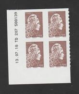 FRANCE / 2018 / Y&T N° AA 1596 ** : Marianne D'YZ (adhésif De Feuille) 0.10 € X 4 - Coin Daté 2018 07 13 - TD 207 - Coins Datés