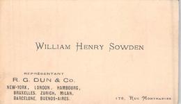 Carte De Visite DE WILLIAM HENRY SOWDEN R G DUN ET CO NEW YORK LONDON HAMBOURG RUE MONTMARTRE PARIS - Cartoncini Da Visita