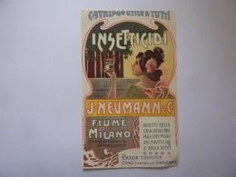 """Piccolo Volantino Pubblicitario """"INSETTICIDI J.NEUMANN& C. FIUME - MILANO"""" Inizi '900 - Reclame"""