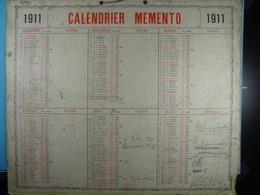 Calendrier Memento 1911 Sur Carton 2 Faces (Format : 42,5 Cm X 34,5 Cm) - Calendriers