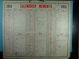 Calendrier Memento 1912 Sur Carton 2 Faces (Format : 42,5 Cm X 34,5 Cm) - Grand Format : 1901-20