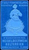 Regenstauf, München: D'Schwarzbeern - Resl Heidelbeerwein - Keltereien Reklamemarke - Cinderellas