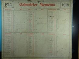 Calendrier Memento 1914 Sur Carton 2 Faces (Format : 42,5 Cm X 34,5 Cm) - Groot Formaat: 1901-20