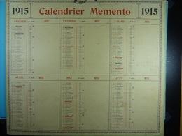 Calendrier Memento 1915 Sur Carton 2 Faces (Format : 42,5 Cm X 34,5 Cm) - Grand Format : 1901-20