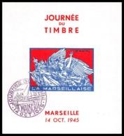 11246 Bloc Feuillet Souvenir Bouches Du Rhone Marseille Bloc Journée Du Timbre 1945 NON DENTELE ** (imperforate) - Commemorative Labels