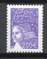 - FRANCE Variété 3436a ** - 2,00 € Violet Marianne De Luquet 2002 - BANDES DE PHOSPHORE A CHEVAL 80/20 - - Variétés Et Curiosités