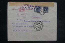 ESPAGNE - Enveloppe D'hôtel De Valencia Pour La France En 1937 Avec Censure , Affranchissement Plaisant - L 26547 - Republikanische Zensur