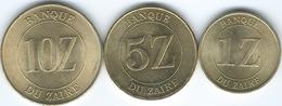 Zaire - 1 (1987), 5 (1987) & 10 Zaïres (1988) - (KMs 13-15) - Zaire (1971-97)