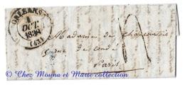 1838 MARQUE POSTALE ORLEANS PARIS MME DE CHANCOURTOIS TAXE CAD LAC LETTRE CACHET DE CIRE MARRON AVEC PAILLETTES D OR - 1801-1848: Vorläufer XIX