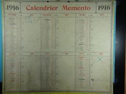 Calendrier Memento 1916 Sur Carton 2 Faces (Format : 42,5 Cm X 34,5 Cm) - Calendari