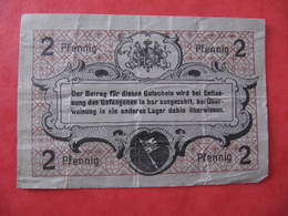 ZWEI PFENNIG - WÜRZBURG - Kgl. Bayer. Offiziers - Gefangenen-Lager Marienberg - [10] Military Banknotes Issues