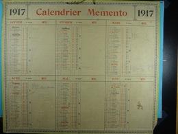 Calendrier Memento 1917 Sur Carton 2 Faces (Format : 42,5 Cm X 34,5 Cm) - Calendriers