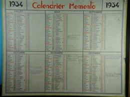 Calendrier Memento 1934 Sur Carton 2 Faces (Format : 42,5 Cm X 34,5 Cm) - Calendriers