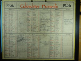 Calendrier Memento 1936 Sur Carton 2 Faces (Format : 42,5 Cm X 34,5 Cm) - Big : 1921-40