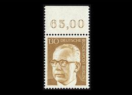 Berlin 1972, Michel-Nr. 429, Freimarken Bundespräsident Dr. Gustav Heinemann, 130 Pf., Bogenrand Oben, Postfrisch - Ungebraucht