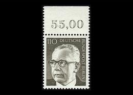 Berlin 1973, Michel-Nr. 428, Freimarken Bundespräsident Dr. Gustav Heinemann, 110 Pf., Bogenrand Oben, Postfrisch - Ungebraucht