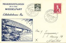 Denmark Special Cover Stamp Exhibition Middelfart 29-11-1942 With Bridge Cachet Lillebältsbroen - 1913-47 (Christian X)
