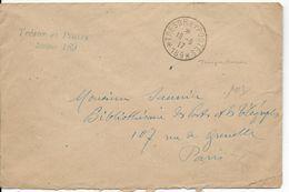 1917 - ENVELOPPE FM Du SP 189 (TROUPES RUSSES En FRANCE !) => PARIS - Marcophilie (Lettres)