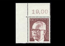 Berlin 1972, Michel-Nr. 433, Freimarken Bundespräsident Dr. Gustav Heinemann, 190 Pf., Eckrand Oben Links, Postfrisch - Ungebraucht