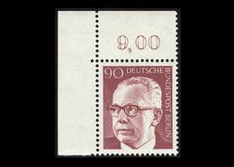 Berlin 1971, Michel-Nr. 368, Freimarken Bundespräsident Dr. Gustav Heinemann, 90 Pf., Eckrand Oben Links, Postfrisch - Ungebraucht