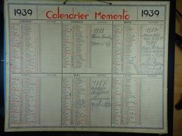 Calendrier Memento 1939 Sur Carton 2 Faces (Format : 42,5 Cm X 34,5 Cm) - Calendriers
