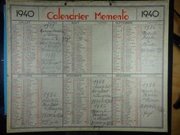 Calendrier Memento 1940 Sur Carton 2 Faces (Format : 42,5 Cm X 34,5 Cm) - Calendriers