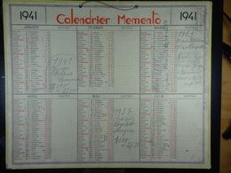 Calendrier Memento 1941 Sur Carton 2 Faces (Format : 42,5 Cm X 34,5 Cm) - Calendarios
