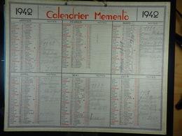 Calendrier Memento 1942 Sur Carton 2 Faces (Format : 42,5 Cm X 34,5 Cm) - Calendarios