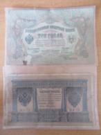 Lot De 2 Billets Russe Dont 1 Rouble 1898 Type 1915 Et 3 Roubles Type 1905 - Etat D'usage - Russie