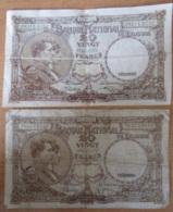 Belgique - Lot De 2 Billets De 20 Francs 1940 (état D'usage) Et 1941 (Bon état) - [ 2] 1831-... : Reino De Bélgica
