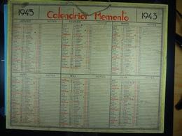 Calendrier Memento 1943 Sur Carton 2 Faces (Format : 42,5 Cm X 34,5 Cm) - Calendarios