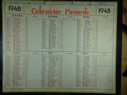 Calendrier Memento 1948 Sur Carton 2 Faces (Format : 42,5 Cm X 34,5 Cm) - Calendriers