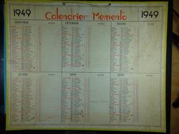 Calendrier Memento 1949 Sur Carton 2 Faces (Format : 42,5 Cm X 34,5 Cm) - Calendriers