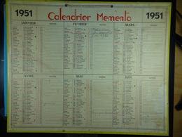 Calendrier Memento 1951 Sur Carton 2 Faces (Format : 42,5 Cm X 34,5 Cm) - Calendarios