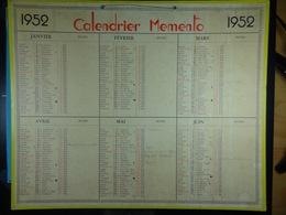 Calendrier Memento 1952 Sur Carton 2 Faces (Format : 42,5 Cm X 34,5 Cm) - Calendarios