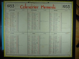 Calendrier Memento 1953 Sur Carton 2 Faces (Format : 42,5 Cm X 34,5 Cm) - Calendriers
