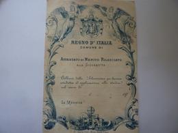 """Documento """"REGNO D' ITALIA  ATTESTATO DI MERITO RILASCIATO ALLA GIOVINETTA, LA MAESTRA"""" Torino Inizi '900 - Diplomi E Pagelle"""