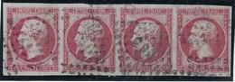 France, N° 17 B Oblitéré En Bande De 4 TB ( Infime Plis Sur Un Timbre,  Voir Scan ) - 1853-1860 Napoléon III.