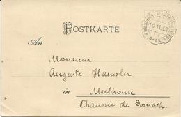 CARTE POSTALE 1897 AVEC CACHET DE LA POSTE PRIVEE DE MULHOUSE - Postmark Collection (Covers)