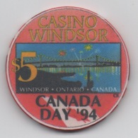 Jeton De Casino Windsor Ontario Canada CANADA DAY Commémo CAD 5 Dollars - Casino